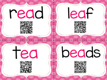 Vowel Teams With QR Codes- EE and EA