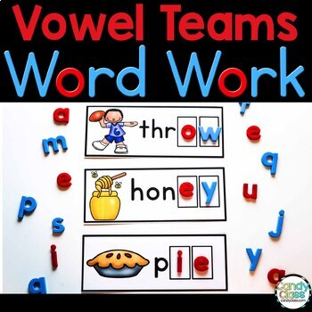Vowel Team Word Work Cards for Phonics Centers for Long Vowel Pairs