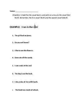 Vowel Teams Worksheet