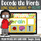 Vowel Teams ai and ay Turtle out the Words using Google Slides