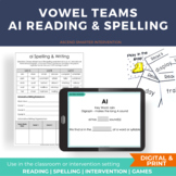 Vowel Digraph AI AY Literacy Center Activities