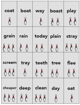 Vowel Teams:  ai, ay, ee, ea, oa; Bowl & Spell Phonics Activity