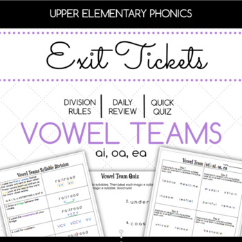 Vowel Teams ai, oa, ea Exit Tickets