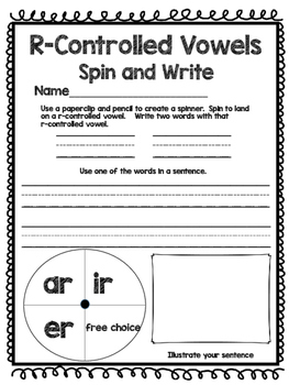 Vowel Teams and R-Controlled Vowels - Spin and Write!