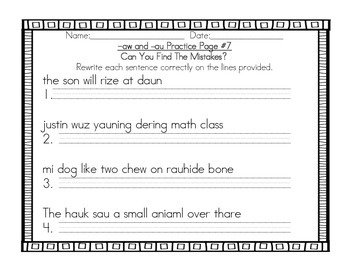 Vowel Teams au and aw Practice Pack - Grade 2