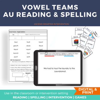 Vowel Diphthong AU AW Literacy Centers