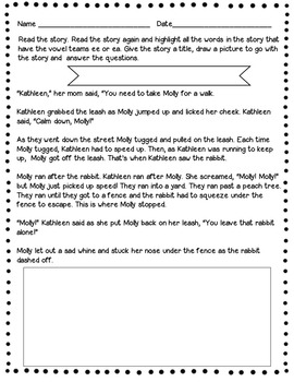 Vowel Teams ee/ea Fill-in-the-Blank Memory Game & Bonus Story