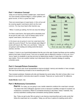 Vowel Teams ee, ea: Orton Gillingham Complete Curriculum Lesson 1