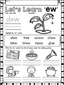 EW Vowel Teams No Prep Phonics Printables with Color Posters
