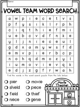 Vowel Teams 'ie' {Long E} No Prep Phonics Printables
