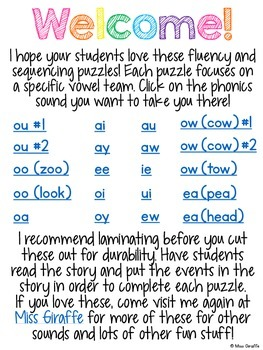 Vowel Teams Fluency and Sequencing Reading Comprehension 20 Puzzles Bundle