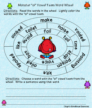 """Vowel Teams """"oi"""" & """"oy"""" Monsters I Have Who Has Game"""