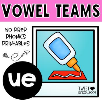 UE Vowel Teams No Prep Phonics Printables with Color Posters