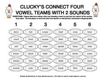 Clucky's Connect 4: Vowel Teams Board Game- Orton Gillingham Phonics/Reading