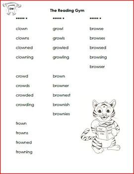 Vowel Teams - word lists and sentences - au, aw, oi, oo, ou, ow, oy
