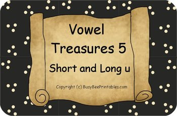 Vowel Treasures 5 File Folder Game - Sort Short u Long u Words