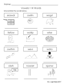 Vowel + W Words - Spelling Practice