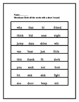 Vowel Word Sort worksheets 16 pages.... Review or homework