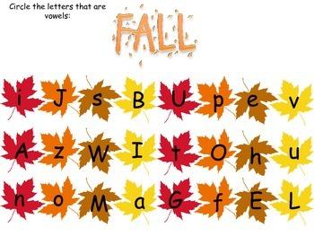 Vowel Worksheet: Fall