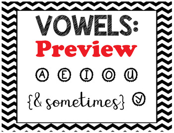 Vowel and Consonant Blends Black and White Chevron Posters