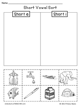 Vowel and Digraph Picture Sort