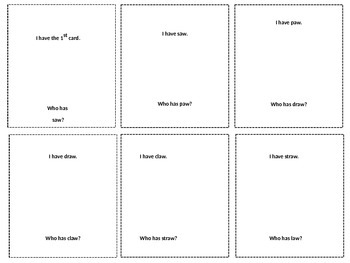 Vowel diagraphs aw ew oo I Have Who Has...? Card Game