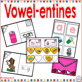 February Valentines Vowel Centers for Kindergarten