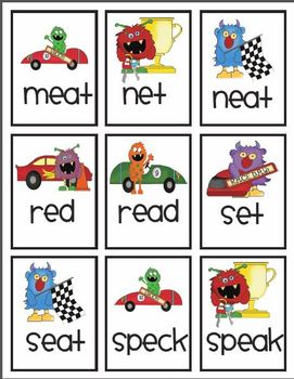 Vowel pattern race car game! Featuring ai & ea! With data collection!