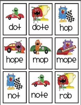 Vowel pattern race car game! Featuring ee & long o! With data collection!