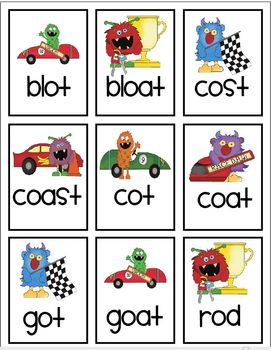 Vowel pattern race car game! Featuring oa & long u! With data collection!