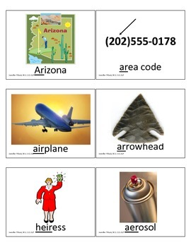 Vowel /r/ articulation flashcards