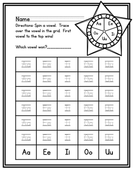 Vowel spinner game