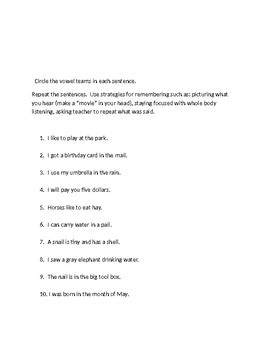 Vowel team lesson (ai/ay)