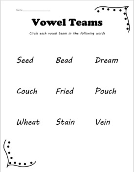 Vowel team worksheet