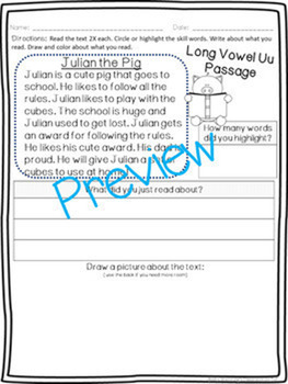 Vowel u Pack - 2 Weeks of Lesson Plans, Activities, and Word Work!