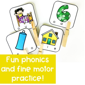 Short Vowel and Long Vowel Clip Card Activities