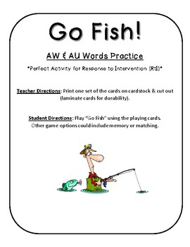 Vowels AW AU words Go Fish! intervention game
