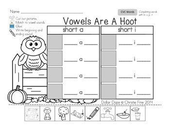 Vowels Are A Hoot...Short a and short i...CVC words