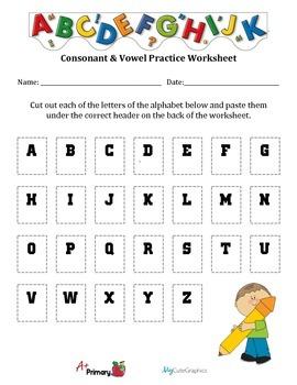 Vowels & Consonants Sorting Worksheet