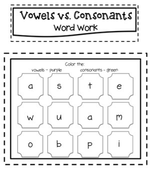 Vowels & Consonants Word Work