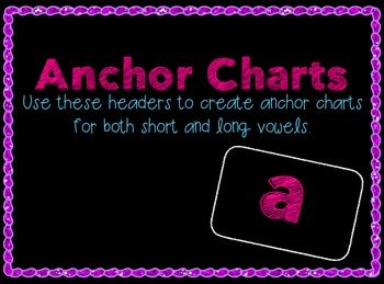 """Short Vowels & Long Vowels Galore: Anchor Charts, """"Pinch"""" Cards & Spinners"""