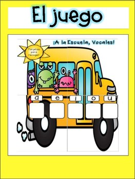 Vowels Game in Spanish-Back To School Theme
