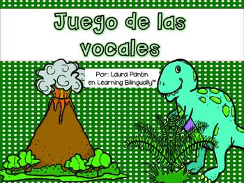 Vowels Game in Spanish - Dinosaur theme