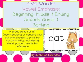 Vowels: Games for Kindergarten and First Grade to Sort and Match