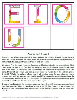 Vowels Go Fish Game