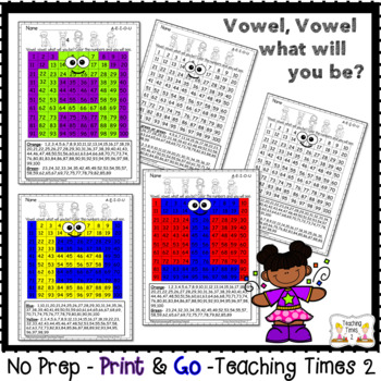 Vowels Hidden Picture Hundreds Chart Fun Pack *Integrate Reading with Math*