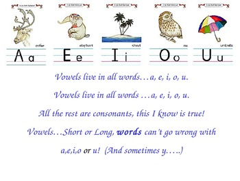 Vowels Live in All Words Song