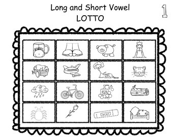 Long and Short Vowel Activities and LOTTO Game