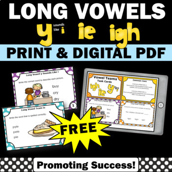 FREE Long Vowel Activities, y sounds like i, ie, igh Vowel Teams Task Cards