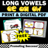 FREE Long O Vowel Teams Activities, Long Vowel Sounds, Long Vowel Task Cards